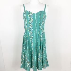 NWT Old Navy Floral Green Sweetheart Dress sz. S